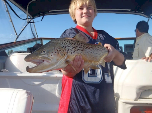 Kid Catches a Brown Trout By Himself
